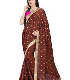 Buy Brown printed satin saree with blouse satin-saree online