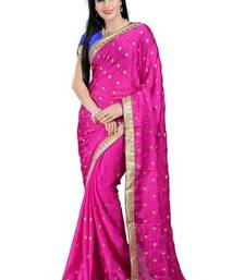 Buy Pink printed satin saree with blouse satin-saree online