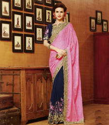 Buy Pink and Blue embroidered georgette saree with blouse party-wear-saree online
