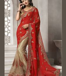 Buy red and chiku embroidered net saree with blouse net-saree online