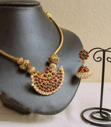 Buy BEAUTIFUL UNIQUE TEMPLE PENDANT NECKLACE SET necklace-set online