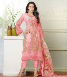 Buy pink georgette embroidered unstitched salwar with dupatta dress-material online