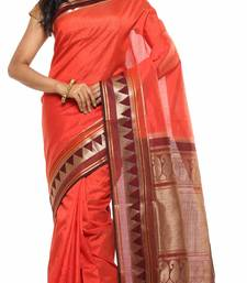 Buy Orange Plain Tussar Silk saree with blouse tussar-silk-saree online