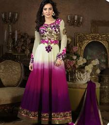 Buy White and purple georgette embroidered semi_stitched salwar with dupatta anarkali-salwar-kameez online