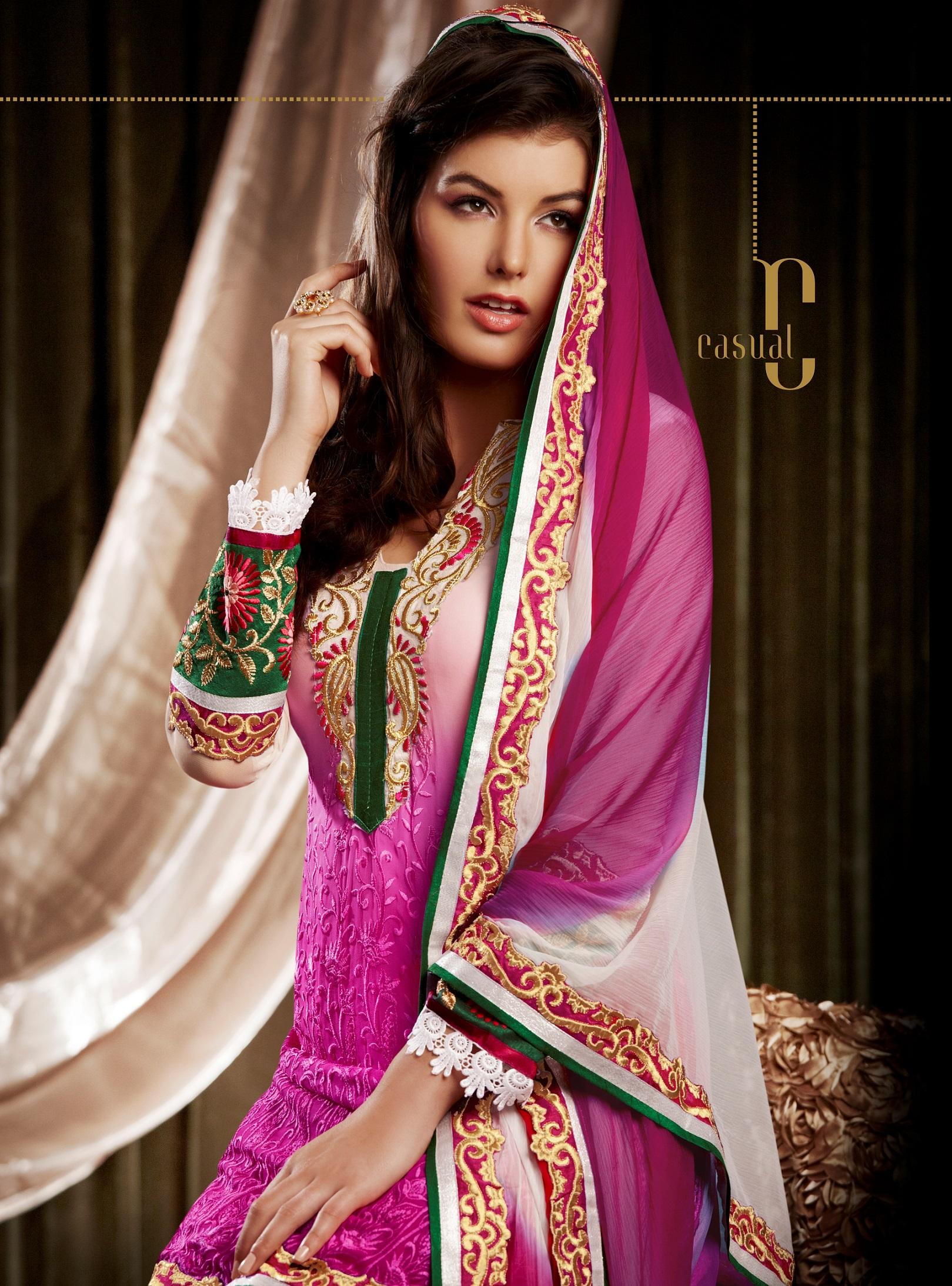 Indian Designer Pink Bemberg Georgette Churidar Kameez Anarkali ...