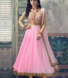 Buy Pink Net Embroidered semi_stitched salwar with dupatta collar-neck-design online