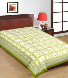Buy Pink Color Floral Print Check Design Pure Cotton Single Bedsheet bed-sheet online