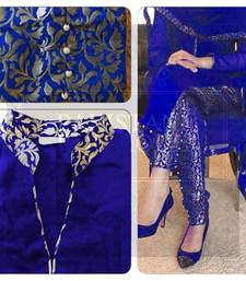 Buy Blue silk embroidered semi_stitched salwar with dupatta party-wear-salwar-kameez online