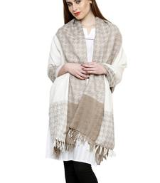 Buy Beige and cream pure wool jamawar shawl with tassels shawl online