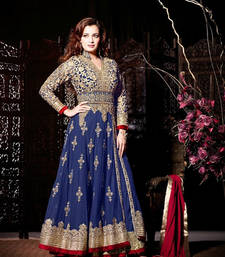 Buy NAVY BLUE, MAROON & BEIGE NET EMBROIDERED SEMI-STITCHED ANARKALI SUIT anarkali-salwar-kameez online