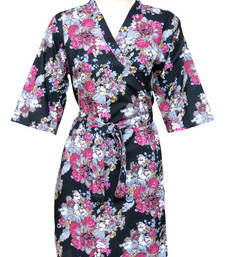 Buy Floral Cotton Robe - Knee Length - Nightwear - Lounge wear - Night wear - Maternity Wear - F1 other-apparel online