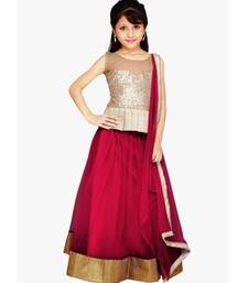Buy Maroon Net plain kids lehenga-choli kids-saree online