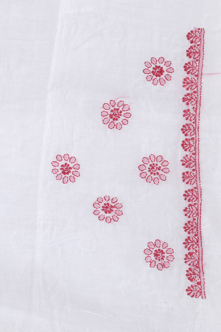Buy Ada Hand Embroidered White Cotton Lucknow Chikankari Saree With Blouse Online