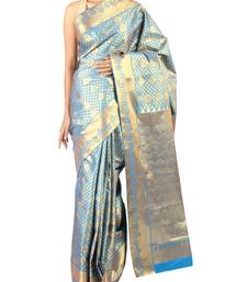 Buy cyan woven Silk saree with blouse silk-saree online