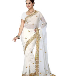 Buy Off White embroidered georgette saree with blouse party-wear-saree online