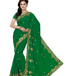 Buy Dark Green embroidered chiffon saree with blouse party-wear-saree online