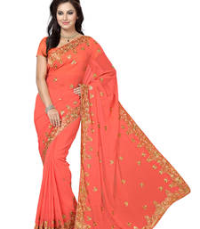 Buy Peach embroidered chiffon saree with blouse party-wear-saree online