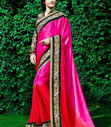Buy pink  and  orange printed silk saree with blouse silk-saree online