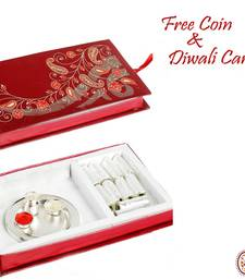 Gift Box with kaju Rolls silver Thali and Pooja essentials shop online