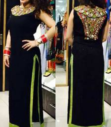 Buy Black georgette mirror embroidered semi stitched salwar with dupatta pakistani-salwar-kameez online