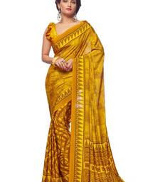 Buy Yellow color printed crepe saree with blouse printed-saree online