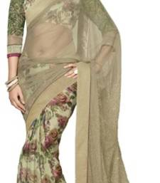 Buy Beige printed chiffon saree with blouse net-saree online