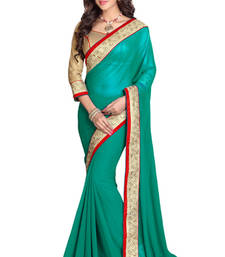 Buy sea green embroidered georgette saree with blouse wedding-saree online