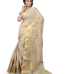 Buy chiku plain Cotton saree with blouse cotton-saree online