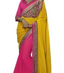 Buy Pink and Yellow embroidered chiffon saree with blouse brasso-saree online