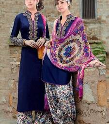 Buy Blue georgette embroidered unstitched salwar with dupatta patiala-salwar online