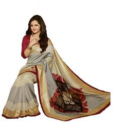 Buy SILVER printed art silk saree with blouse printed-saree online