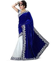 Buy blue and white brasso velvet saree with blouse half-saree online