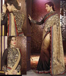 Buy Chiku And Cream embroidered net saree with blouse net-saree online