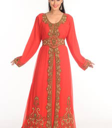 Buy Red arabian islamic kaftan crystal-abaya online