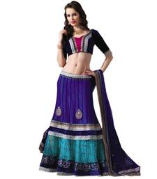 Buy Hypnotex Net Blue and Sky Blue Color Designer Dress Material Diwali9407 lehenga-choli online