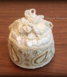Buy White Beadwork Potli Bag EE1 gifts-for-her online