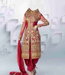 Buy red embroidered georgette semi stitched salwar with dupatta pakistani-salwar-kameez online