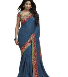Buy Blue embroidered jute_cotton saree with blouse jute-saree online