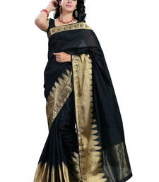 Buy Black hand woven cotton saree with blouse cotton-saree online
