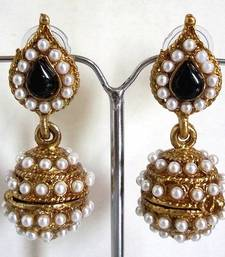 Buy Black leaf pearl jhumki earrings jhumka online