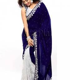 Buy Blue and white embroidered velvet saree with blouse party-wear-saree online