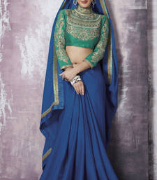 Buy Blue Embroidered Chiffon and Jacquard saree with blouse heavy-work-saree online