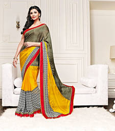 Buy Multicolor Printed Georgette and Satin saree with blouse printed-saree online