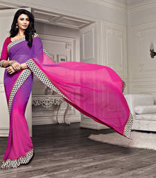 Buy Pink and Purple Printed Chiffon saree with blouse printed-saree online