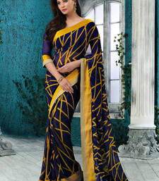 Buy Purple and Yellow Printed Chiffon saree with blouse printed-saree online