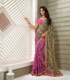 Buy Beige and Pink Heavy Bordered Sarees Brasso saree with blouse heavy-work-saree online