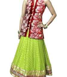 Buy Pista green and Red indowestern Lehenga set indowestern online