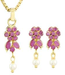 Buy Pink Gold Plated CZ Pendant with Chain and Earrings Pendant online