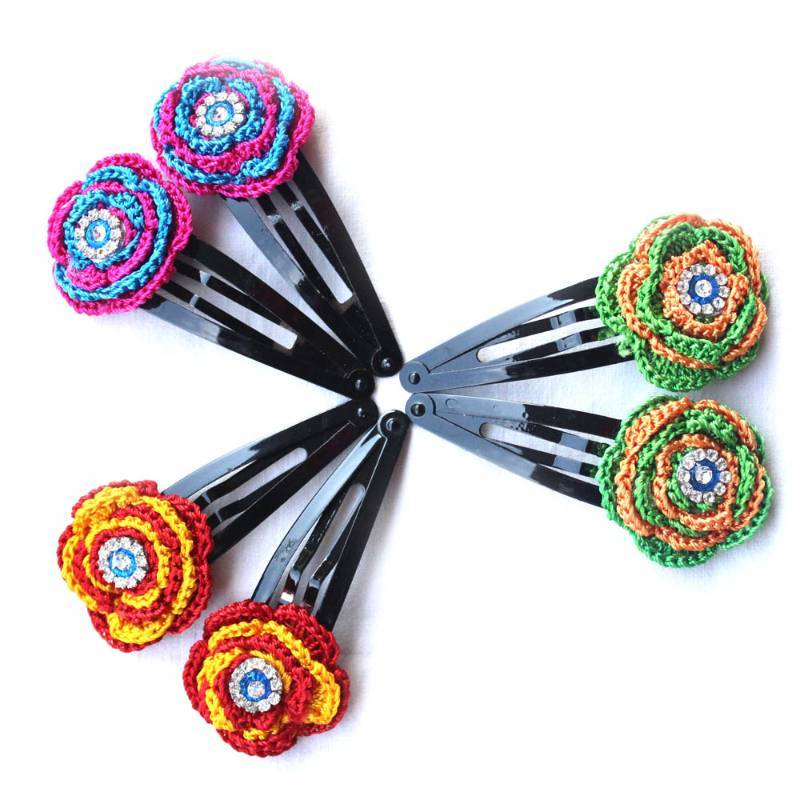 Crochet Hair Jewelry : Buy Exclusive: Hair Pins with Crochet Motifs 3 Pairs Multicolor ...