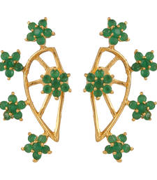 Buy Green  Gold Plated CZ Cuff Earring stud online